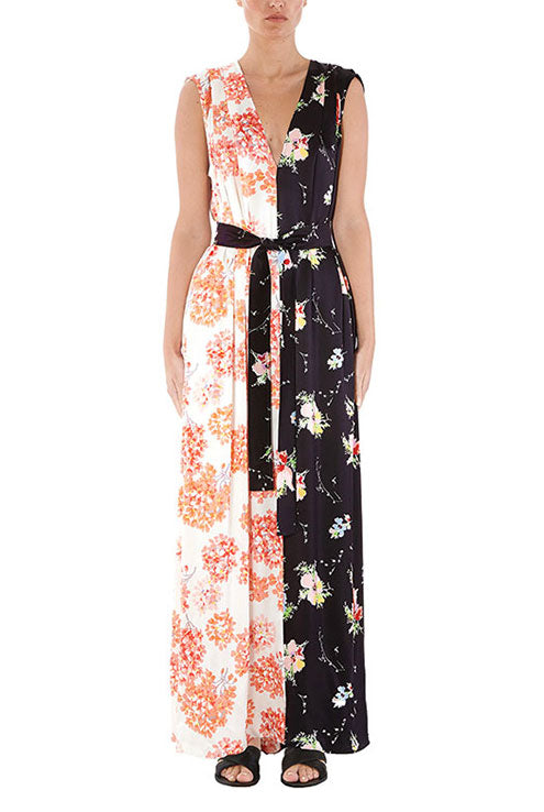 Mixed Floral V-Neck Gown - 2