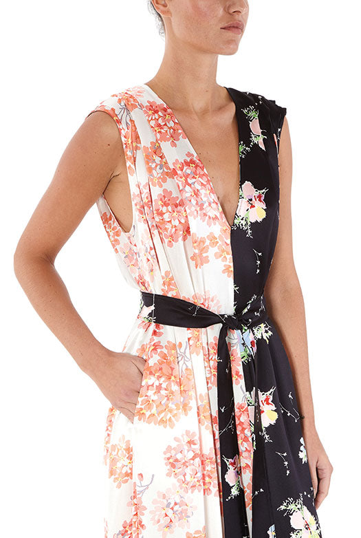 Mixed Print V-Neck Gown with Belt - 2