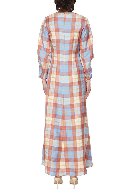 Plaid V-Neck Twist Sleeve Dress - 2