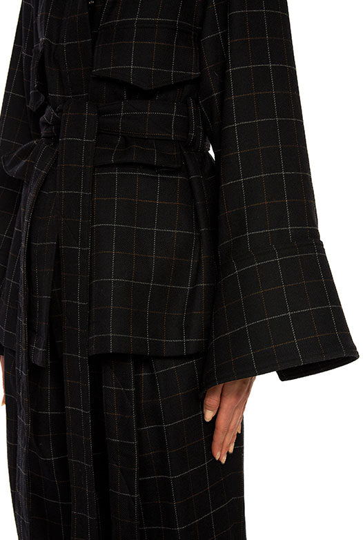 Wool Plaid Belted Jacket - 2