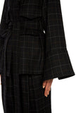 Wool Plaid Belted Jacket