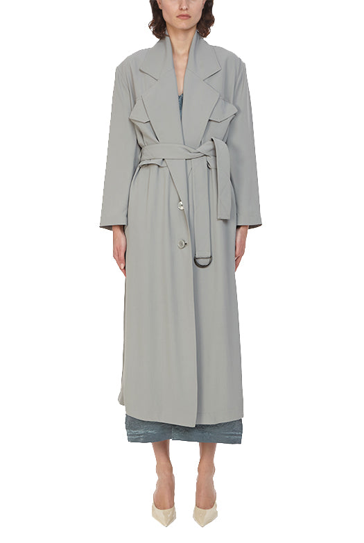 Twill Belted Trench Coat - 6