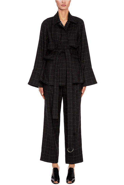 Wool Plaid Wide Leg Pant - 2
