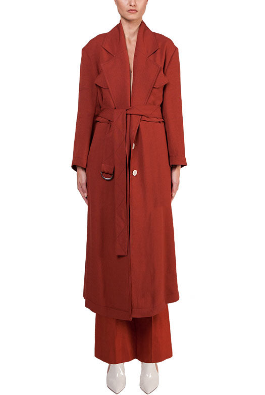 Linen Belted Trench Coat - 2