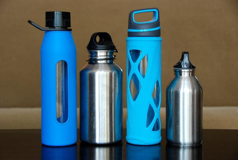 Custom glass and aluminum water bottles