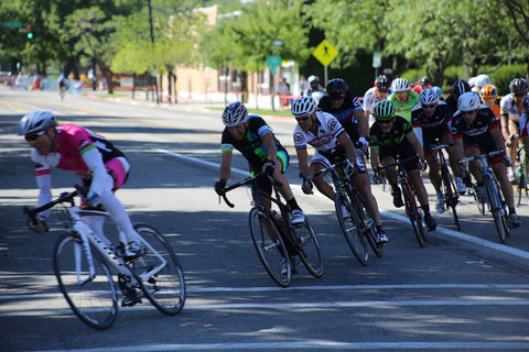 Cyclists rounding curve in bike race