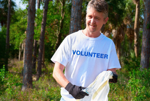 Man volunteering
