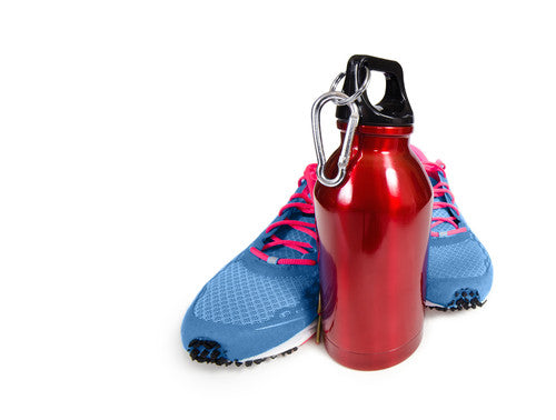 Athletic shoes and stainless steel water bottle