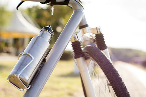Bicycle with stainless steel water bottle