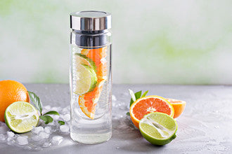 Infuser water bottle with orange and lime slices