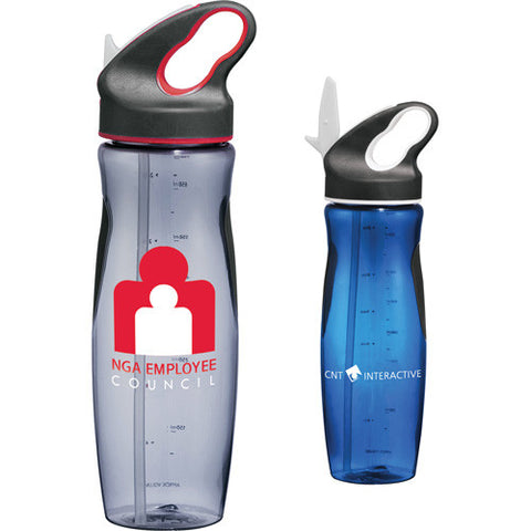 Custom water bottle in blue and gray. Cascade sport bottle 24 oz. Custom Sports Water Bottle.