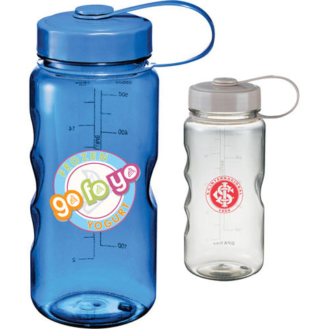 BPA Free custom water bottle in gray, clear, blue with screw on lid with loop attachment. Custom sports water bottle.