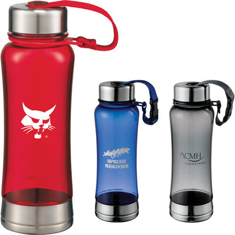 Custom water bottle with stainless steel lid with nylon strap loop and stainless steel base in red, gray, and blue. Custom plastic sports water bottle.