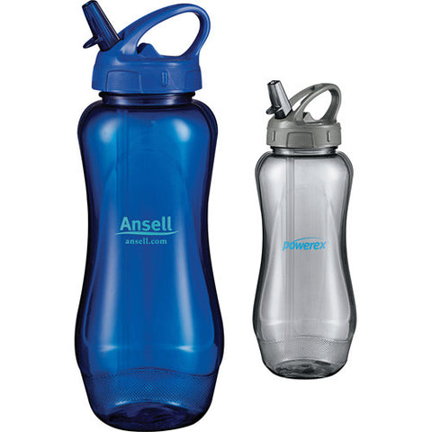 Custom water bottle in blue and gray. Aquos Sports bottle 32 oz. Custom Sports Water Bottle. BPA free.
