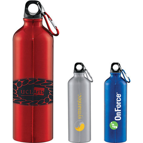 Custom water bottle with carabiner keychain attachment to attach to other things comes in silver, red, gray, blue. Custom aluminum water bottle.