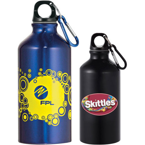 Short small custom water bottle with carabiner keychain attachment to attach to other things comes in blue and black. Custom aluminum water bottle.