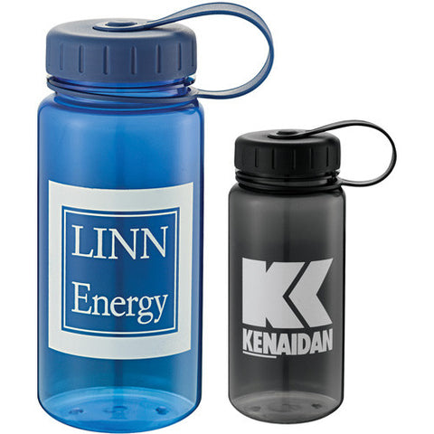Custom sports water bottle with screw on lid in gray black and blue. Custom Water Bottle.