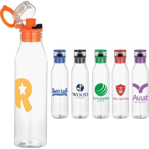 Clear custom water bottle with flip on lid and drinking spout in red, orange, blue, black. Custom plastic sports water bottle.