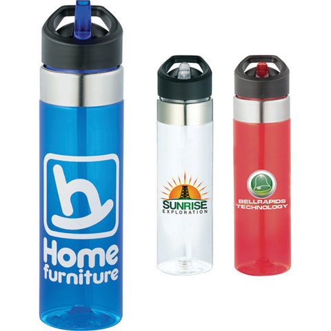 custom sports bottle with straw in red, white, clear, blue. Custom water bottle. Custom sports water bottle.