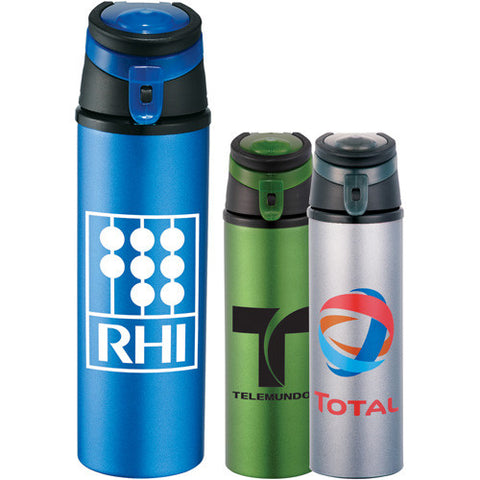 Custom water bottle with large screw on lid and flip top lid with drinking spout comes in gray and blue. Custom aluminum water bottle.