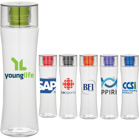 Clear and sleek custom water bottle with colored lids in red, purple, orange, blue, black. Custom plastic sports water bottle.