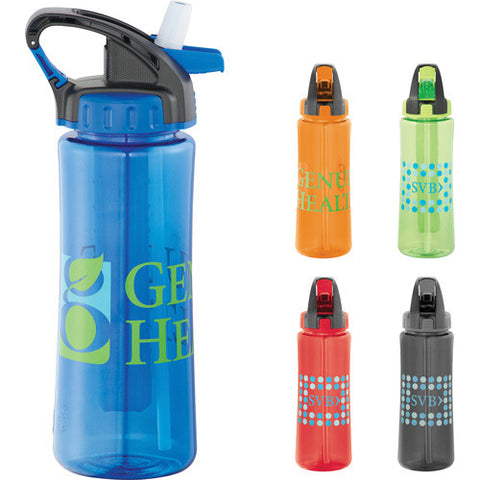 Custom water bottle in red, orange, green, gray and blue. Custom Sports Water Bottle with cool gear chiller stick. 22oz. BPA Free.