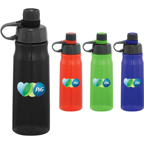 Custom water bottle with loop attached to screw on lid and screw off cap comes in red, green, blue, black. Custom sports water bottle.