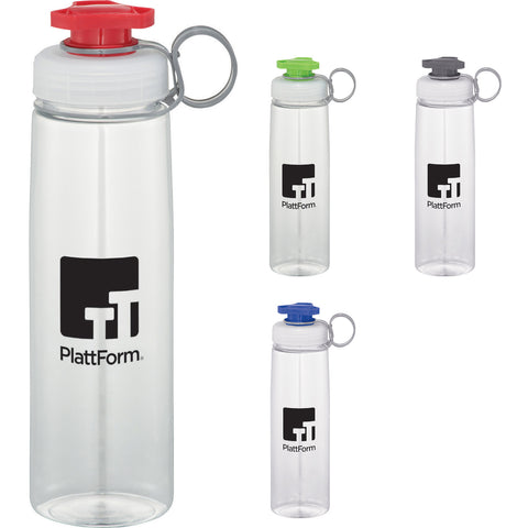 Custom water bottle with faucet spout in red, lime, green, gray, blue. Custom sports water bottle.
