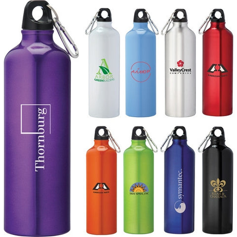 Simple standard custom water bottle, this custom aluminum water bottle has a twist on lid and a silver keychain attachment to attach to other things and belongings, comes in blue, orange, green, black, white, navy blue. Custom aluminum sports water bottle.