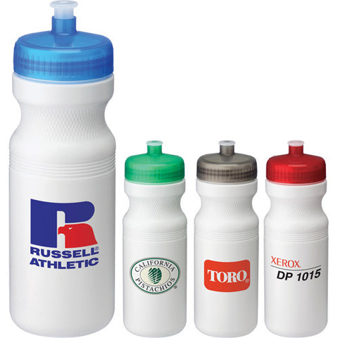 BPA Free custom water bottle red, green, gray, clear, blue, black. custom sports water bottle with pull push spout and twist on lid.