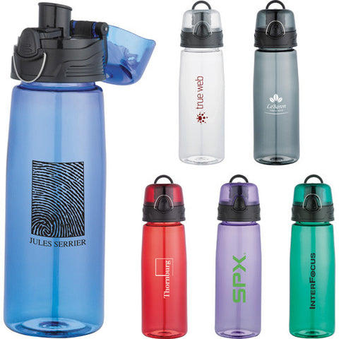 Custom water bottle in red, purple, green, gray, grey, clear, blue. Capri tritan sports water bottle 25 oz. Custom sports water bottle.