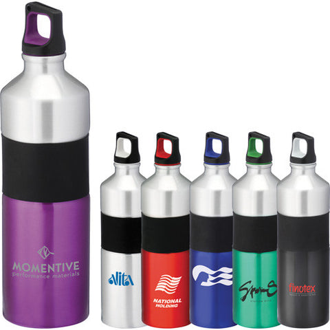 Sleek custom water bottle with twist on lid and rubber grip in silver, red, purple, blue, black. Custom aluminum water bottle.
