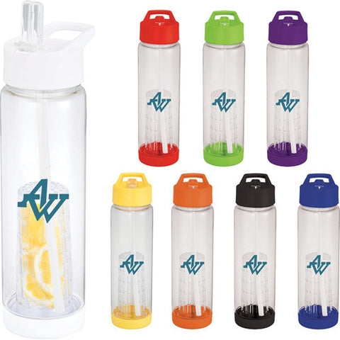 Custom water bottle with colored screw on lid and bottom and and flip top drinking spout comes in blue, red, purple, yellow, white, clear, orange, green, black. Custom sports water bottle.