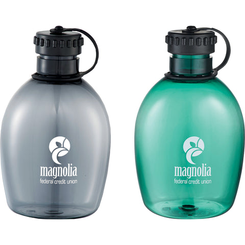Custom Water Bottle. Green, turquoise or gray camping bottles. Arc Tritan Camping Bottle 32 oz. Custom Plastic Water Bottle. BPA Free.