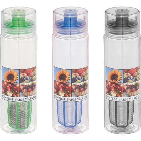 Clear custom water bottle with infuser and a shaker, this infuser and shaker bottles comes with drinking spout and colored screw on lids in lime, green, blue, black. Custom shaker water bottle.