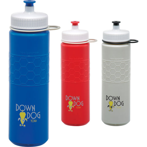 New Balance custom water bottle, this custom water bottle has a screw on lid with a push pull drinking spout in silver, red, gray, blue. Custom sports water bottle.