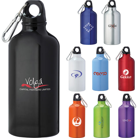 Lil shorty custom aluminum sports bottle in white, silver, red, purple, orange, green, gray, blue, black. Custom water bottle.