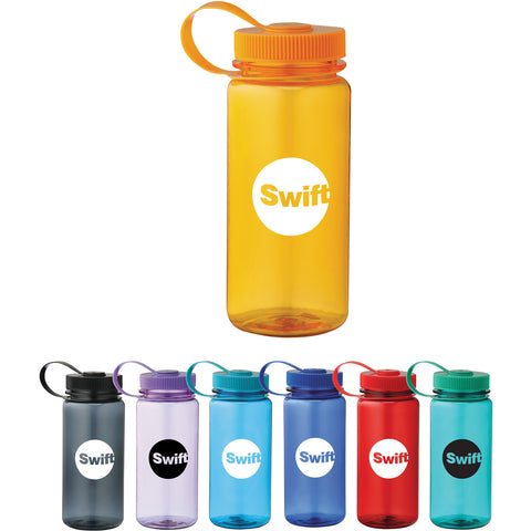 Simple custom water bottle with twist on lid with loop attached in turquoise, royal, red, orange, green, blue, black. Custom sports water bottle.