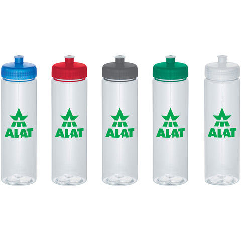 BPA free custom water bottle with push pull spout and twist on lid in white, red, green, gray, clear, blue, black. Custom sports water bottle.