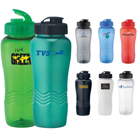 Custom water bottle with twist on lid and flip top with small opening for drinking comes in white, red, green, gray, clear, blue, black. Custom sports water bottle.