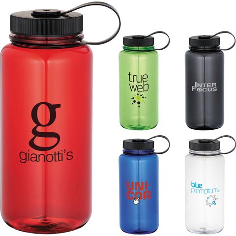 Custom water bottle. Custom 30 ounce sports bottle with twist on lid with loop in white, red, green, clear, blue, black. Custom plastic water bottle.