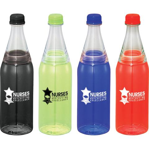 Custom water bottle in a retro soda bottle style comes in royal, red, lime, green, blue, black. Custom plastic water bottle.