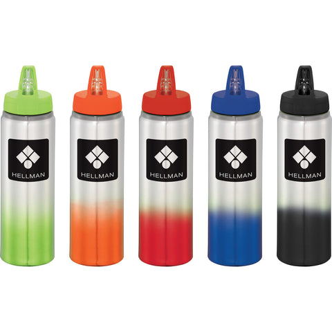 Custom Water Bottle. Custom aluminum sports bottle with gradient effect and flip top spout in royal, red, orange, lime, green, blue, black. Custom aluminum water bottle.