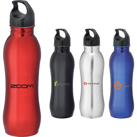 Custom water bottle in silver, red, blue, black. Curve sports bottle 25 oz. Custom aluminum sports water bottle.