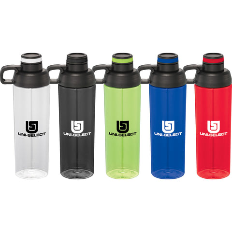 Custom Water Bottle in white, red, lime, green, clear, blue, black. Custom sports water bottle with handle hook and screw on lid.