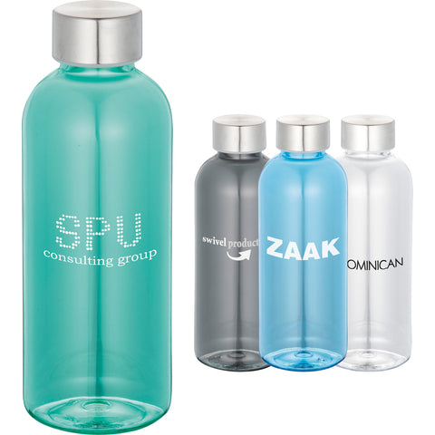 Custom water bottle in turquoise, green, gray, clear, blue, black. Custom sports water bottle with twist on lid.