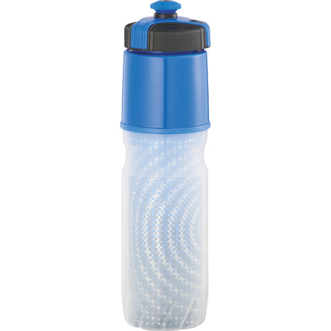 Custom water bottle in blue. Cool gear insulated squeeze bottle. Custom sports water bottle. BPA Free.