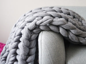 Elegant Hand Knitted Chunky Throw Blanket