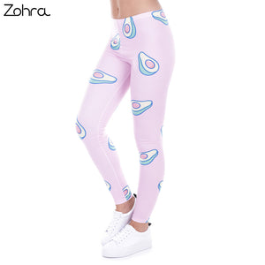 Women Printed Leggings Avocado Pink