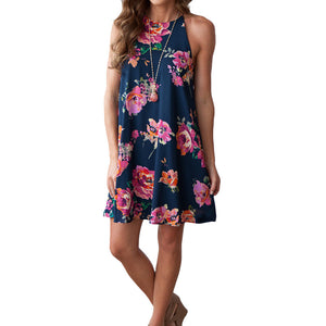 Blue Floral Summer Dress